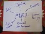 MARCH - music - chanting - dancing - lots of women - women's energy - carnival like environment