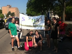 SACHA volunteers and staff getting ready to march!