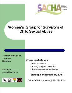 Women's Group for survivors of CSA  September, 2015